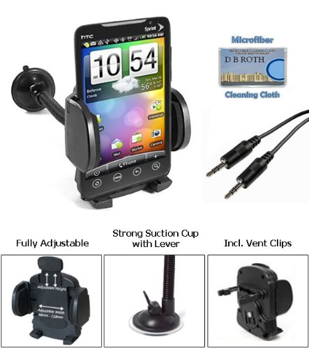 Car Mount with Flexible Gooseneck + 3.5mm Aux Cable (5 Ft.) for the Sprint HTC Evo 4g - Incl. DBROTH Microfiber Cleaning Cloth
