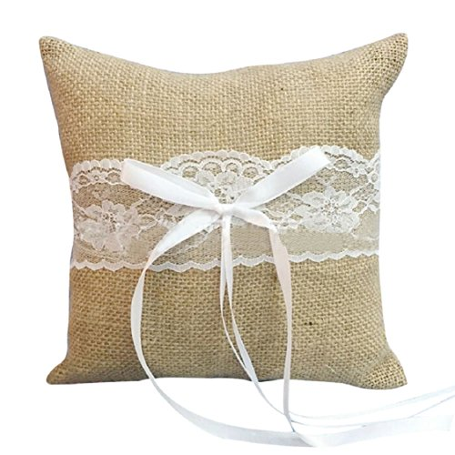 Ikevan Hot Selling Ring Cushion Beautiful Flower Bowknot Jute/Satin Mini Pillow Wedding Ring Pillow 15cmx15cm (Brown)
