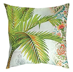 "20"" Outdoor Deck and Patio Easy Breeze Tropical Palm Tree Square Throw Pillow"