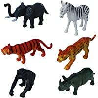 Wild Zoo Forest Animals Plastic Toy Set - Pack Of 6 - 1c180 - Educational & Decorative Toys For Kids