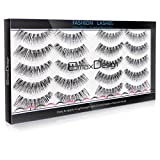EmaxDesign Multipack Natural 3D False Eyelashes, 10 Pairs Fake Eyelashes - Fashion Eyelashes Extension For Makeup.