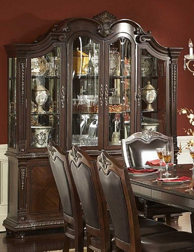 Cheap China Cabinet Buffet Hutch Acanthus Leaf Carvings in Rich Brown (VF_HE1394-50)