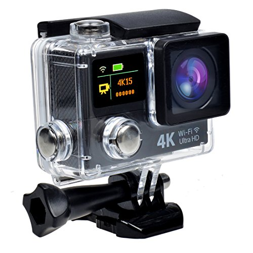 Campark® Ultrathin 4k Wifi Waterproof Sports Action Camera Dual-screen,time Lapse,burst Photo,independent Apps for Ios and Android,2pcs Batteries Included
