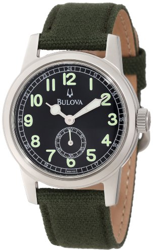 Bulova Men's Canvas Strap 96A102 Green Cloth Quartz Watch with Black Dial Canvas