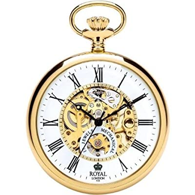 Royal London Pocket Watch 90049-02 Gold Plated Open Face