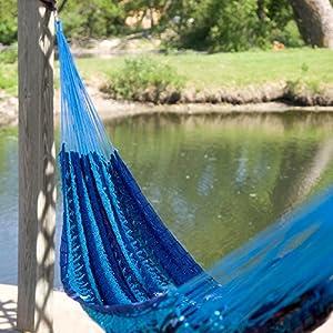 Island Bay Island Bay XXL Hand Woven Caribbean Stripe Thick String Hammock, Blue, Cotton, 3+ Person