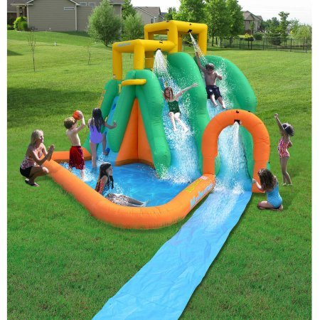 Double Tornado Blast Waterslide - 2 Twin Curved Slides , 1 Slide Splashing Into the Large Pool Area , Also Includes a Large Splash Pool and Basketball Goal (Blow Up Play House compare prices)