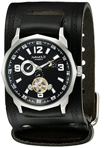 Nemesis Caballero KIN010K Mechanical Black Dial with Black Leather Cuff Band Reloj