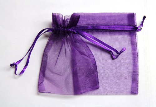 48 Organza Drawstring Pouches Gift Bags 4x5 - Dark Purple