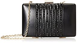 La Regale Faux Leather with Beads Clutch, Black, One Size