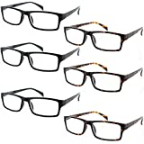 Fiore® 6 Pack Clear Spring Hinge Reading Glasses 3 Pair Black & Tortoise (1.50)