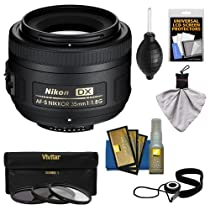 Nikon 35mm f/1.8 G DX AF-S Nikkor Lens + 3 UV/CPL/ND8 Filters + Accessory Kit for D3100, D3200, D3300, D5100, D5200, D5300, D7000, D7100 DSLR Cameras
