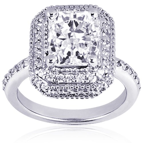 1.30 Ct Radiant Cut Diamond Vintage Engagement Ring 14k