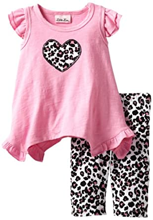 Little Lass Baby-Girls Infant 2 Piece Capri Set with Animal Print, Fuchsia, 24 Months
