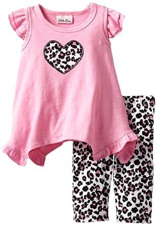 Little Lass Baby-Girls Infant 2 Piece Capri Set with Animal Print, Fuchsia, 24 Months