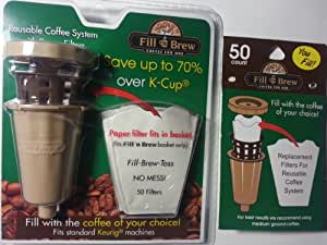 Fill 'n Brew Coffee for One Reusable Coffee System with BONUS Package of 50 Filters