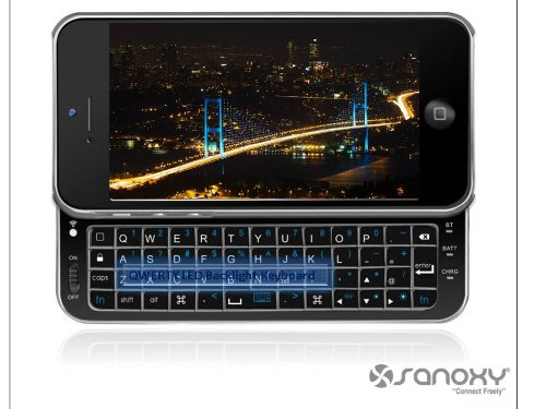 Sanoxy® Wireless Bluetooth Sliding Qwerty Led Backlight Keyboard Case For Iphone5 (Black)