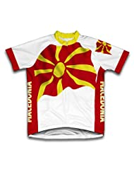 Macedonia Flag Short Sleeve Cycling Jersey for Women