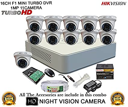 Hikvision-DS-7116HGHI-F1-Mini-16CH-Dvr,-11(DS-2CE56COT-IRP)-Dome-Camera-(with-Mouse,-2TB-HDD,-Bnc&Dc-Connectors,Power-Supply,Cable)