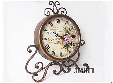 European Style Antique Retro Vintage-inspired Wrought Iron Craft Table Clock Home Decor (Rose) ¡­ 0