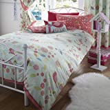 Pastel light blue and pink, rose, floral, bird, love design, girls double duvet cover bed set.