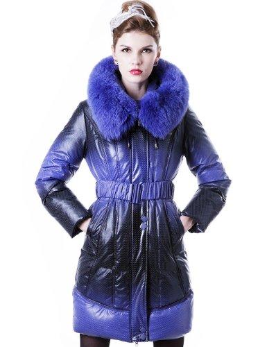 Maxchic Women'S Fox Fur Trim Two-Tone Waterproof Shell Hooded Down Coat D93002S11M,Black-Blue,X-Large