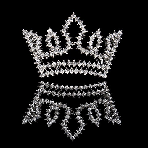 FUMUD Silver Full Crystal Rhinestone Small Crown Hairpin Mini Tiara Hair Clip (2PCS) (Small Crystal Hair Pin compare prices)