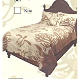 Queen-Hawaiian-Quilt-bedding-Comforter-100-cotton-hand-quilted-with-two-pillow-shams-Honu-Sea-Turtle