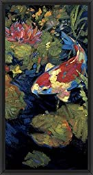 14in x 26in Asian Serenity II by Leif Ostlund - Black Floater Framed Canvas w/ BRUSHSTROKES