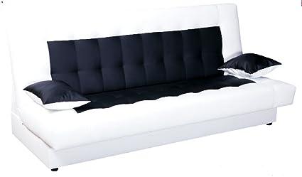 Schlafsofa Funktionssofa Sofa Bett incl. Kissen weiss schwarz mit Bettkasten