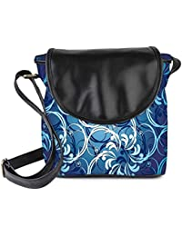 Snoogg Abstract Blue Pattern Womens Sling Bag Small Size Tote Bag