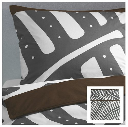 Amazing Ikea Stockholm pc King Duvet Cover Set Grey White Brown Fern Leaf