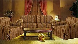 Bednlinens 3 Piece Set Brown Stripe Sofa+Loveseat+Chair Slipcover Protector