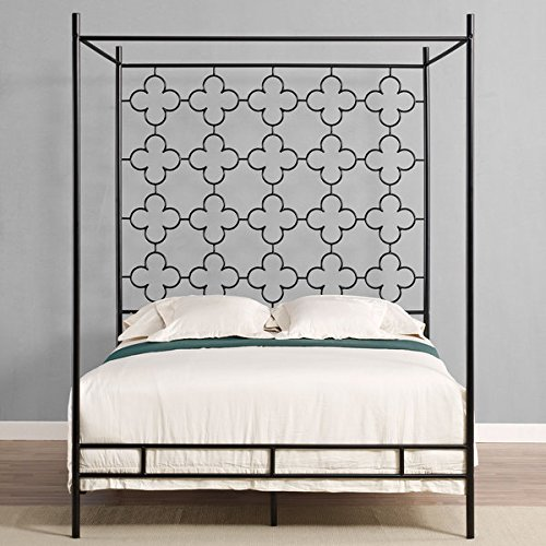 Metal Canopy Bed Frame Full Sized Adult Kids Princess Bedroom Furniture * Black Wrought Iron Style Vintage Antique Look * Hang Shear Curtains or Mosquito Nets * Bedding Pillow Not Included (Full)