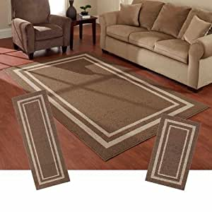 Mainstays Frame Border 3 Piece Area Rug Set