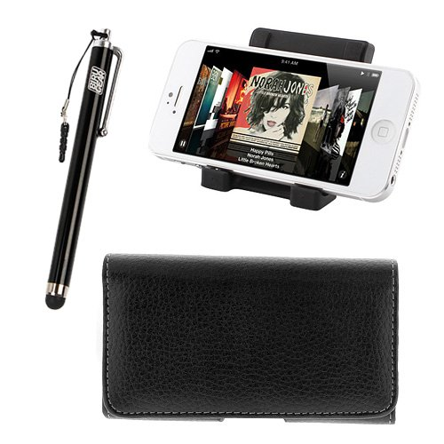 Ikross Black Universal Portable Collapsible Desk Stand Holder + Black Horizontal Pouch Case + Black Pen Style Stylus For Apple Iphone 5S, Iphone 5C, 5, Htc, Blackberry, Lg, Motorola, Samsung Cellphone Smartphone And More