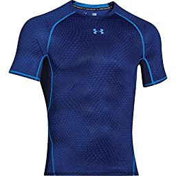 Under Armour Heatgear Armour Compression Printed SS T - Men\'s Midnight Navy / Blue Jet Small