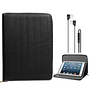 DMG Premium Stitched Durable Portfolio Bag with Accessory Pockets for Samsung Galaxy Tab 3 T211 7in Tablet(Black) + Black Stereo Earphone with Mic and Volume Control (Black)