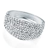 Crystal Hinged Fashion Bangle Silver