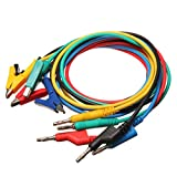 M.Way 4mm 5PC Colorful Silicone Banana Plug to Crocodile Alligator Clip Test Probe Lead Wire Cable Multimeter Probe Test Lead 1M
