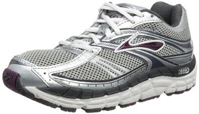 Brooks Women's Addiction 10 Running Shoe,Silver/Anthracite/Plum,5 D US