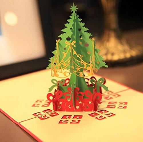 Merry Christmas Tree 3D Card Laser Cut Pop Up Paper Handmade Greeting Cards Christmas Gifts Souvenirs by Abcstore99