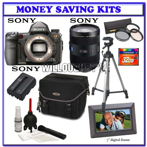 Sony Alpha A900 24.6MP Digital SLR Camera (Black) + Sony 24 -70mm f/2.8 Carl Zeiss Vario Sonnar T Zoom Lens + Transcend 32GB 133x CF + 77mm Introductory 3pc Filter Kit + Pro Series Tripod + Sony Battery Pack + Willoughby's Photo Bundle Kit