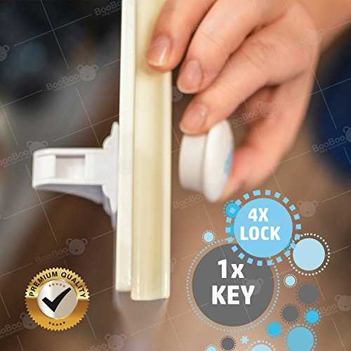 BooBoo Child/ Baby Safety Cupboard Locks (4 Locks 1 Key) Baby Proof Your Cabinets & Drawers With The Invisible Magnetic Adhesive Lock, Extra Easy Install, No Tools Needed!