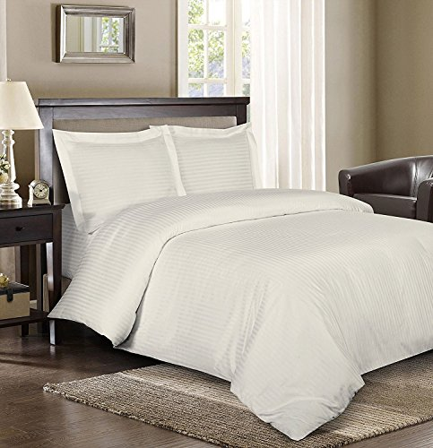 Royal Hotel Stripe Ivory 3pc King/California-King Comforter Cover (Duvet Cover Set) 100-Percent Cotton, 600-Thread-Count, Sateen Striped (Hotel Stripe Duvet Cover compare prices)