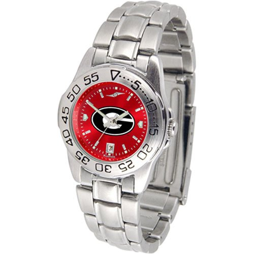Suntime Georgia Bulldogs Ncaa Anochrome Sport Ladies Watch Metal Band