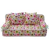 Mobilier/Sofa Pour Poupée Barbie Canapé Miniature + Deux Coussins à Fleurs