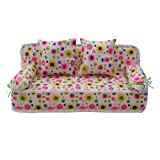 Lovely Miniature Furniture Flower Print Sofa Couch With 2 Cushions For Barbie thumbnail