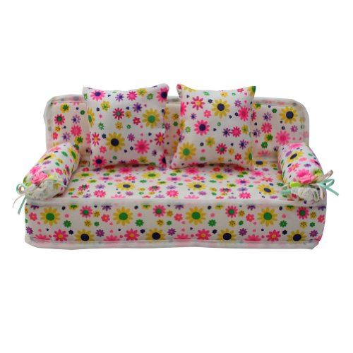 Lovely-Miniature-Furniture-Flower-Print-Sofa-Couch-With-2-Cushions-For-Barbie