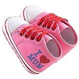 waylongplus Lienzo infantil Prewalker suave Suela antideslizante zapatos de cuna I Love Mum Dad Impresión Slip-On Zapatillas rosa Pink Mum Talla:13 (12-18 Months)